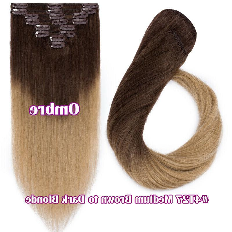 Human Hair Ins Full Head 100% Real Ombre Weft