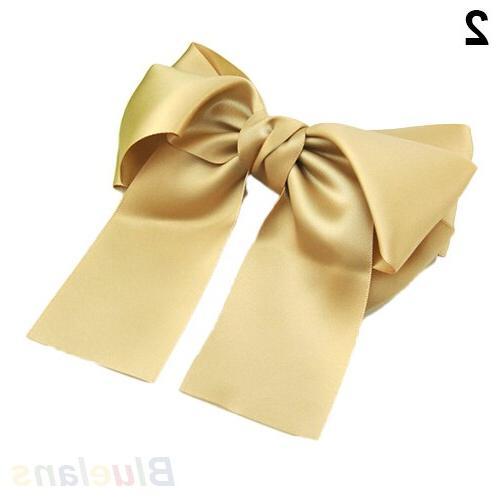 Korean Women Multicolor Ribbon Bow Barrette Holder Sale 000Z