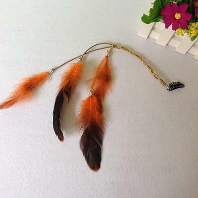 6PCS Women Girls Handmade Boho Hippie Extensions Feather Com