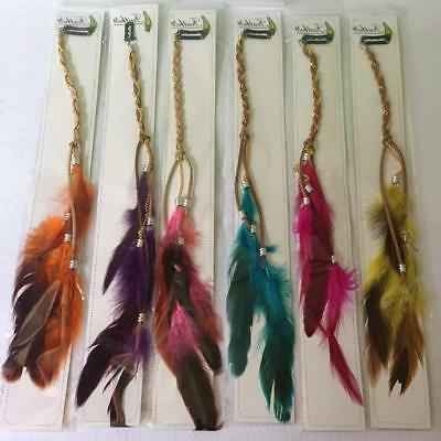 6PCS Women Lady Girls Handmade Extensions with Feather Com