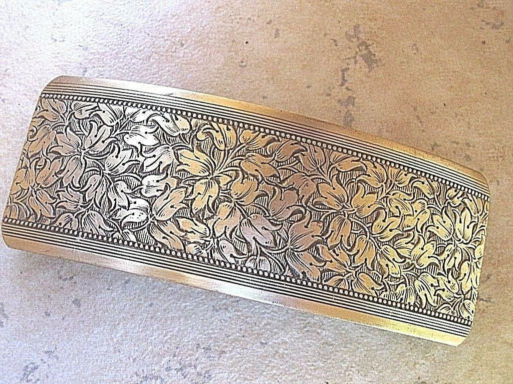 large antiqued brass barrette for thick hair