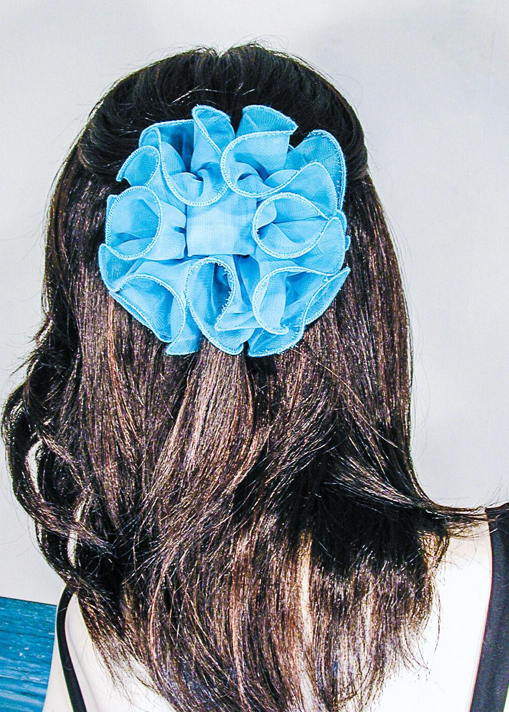 Large Puffy Ruffled Color Clip Bows H719