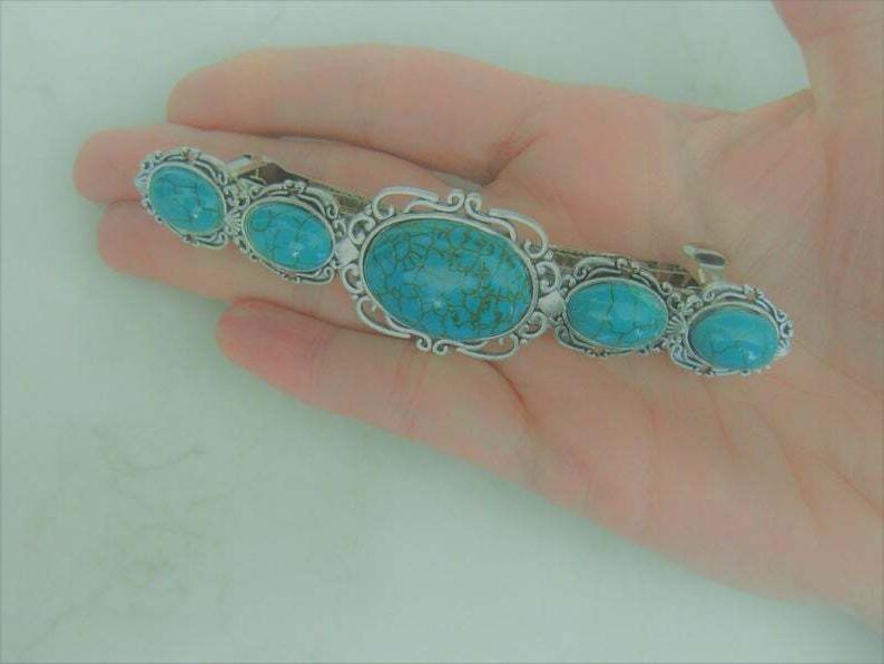 Large turquoise blue metal barrette for thick