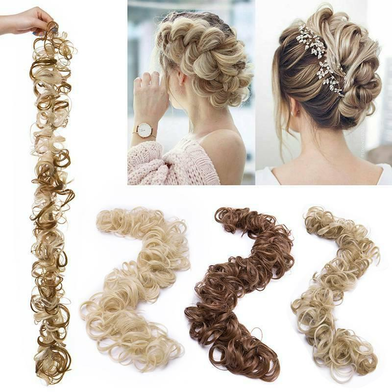 Long Wavy Bun Scrunchie Ponytail Hair Chignon As Human