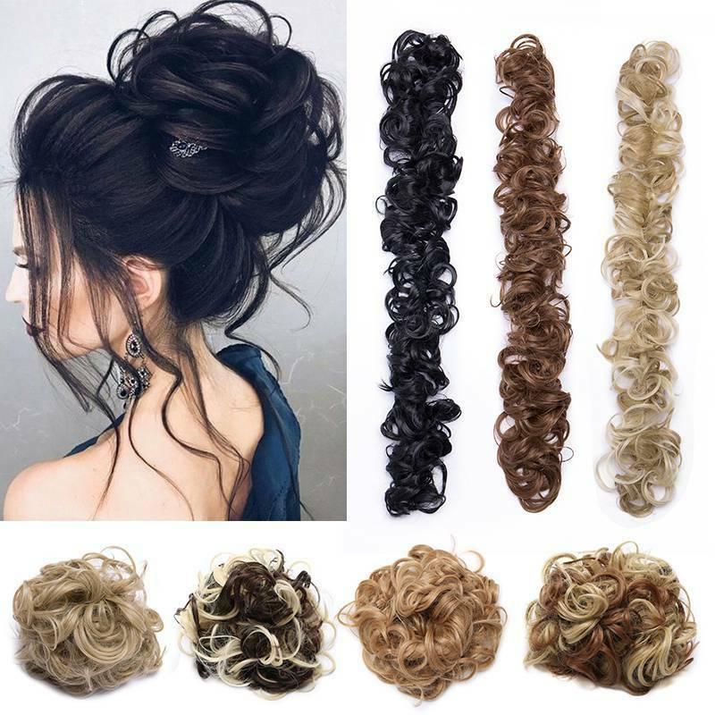 long wavy bun scrunchie ponytail hair extension