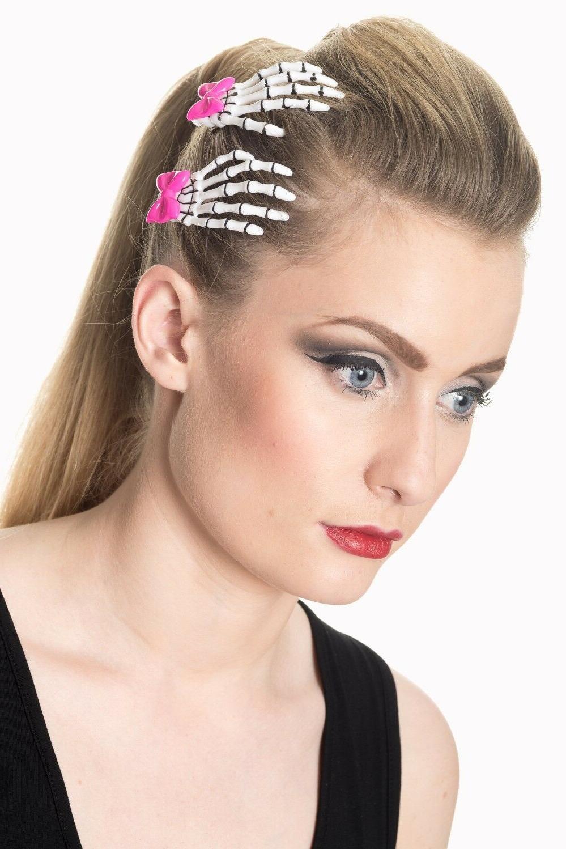 Cute Skeleton pink bow Hair - of