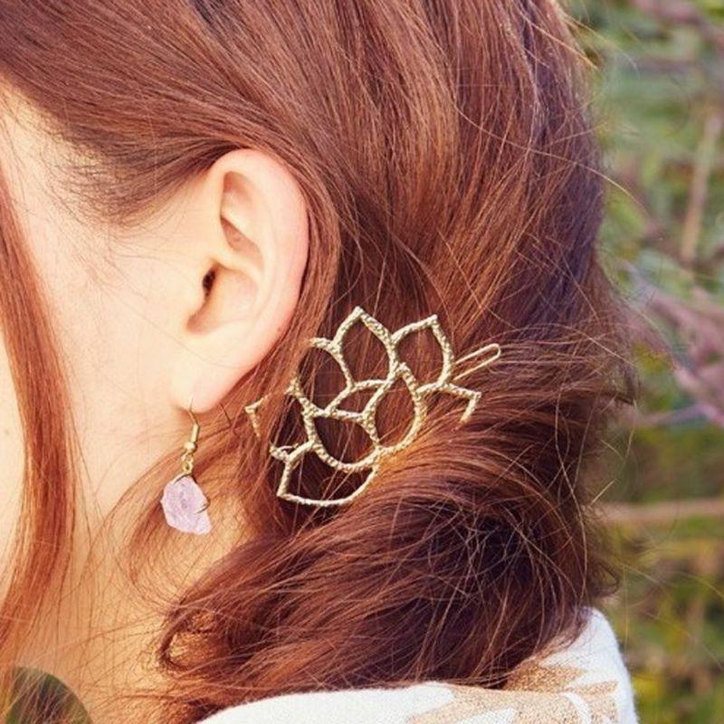Lotus Flower Hair Clip, Gold, Golden Barrette, Boho Bohemian
