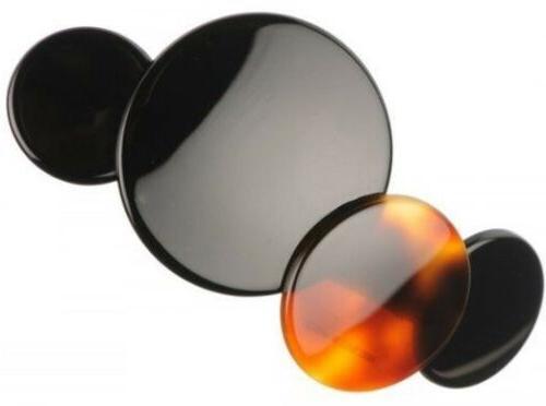 Circles Shell Black Handmade Hair Barrette