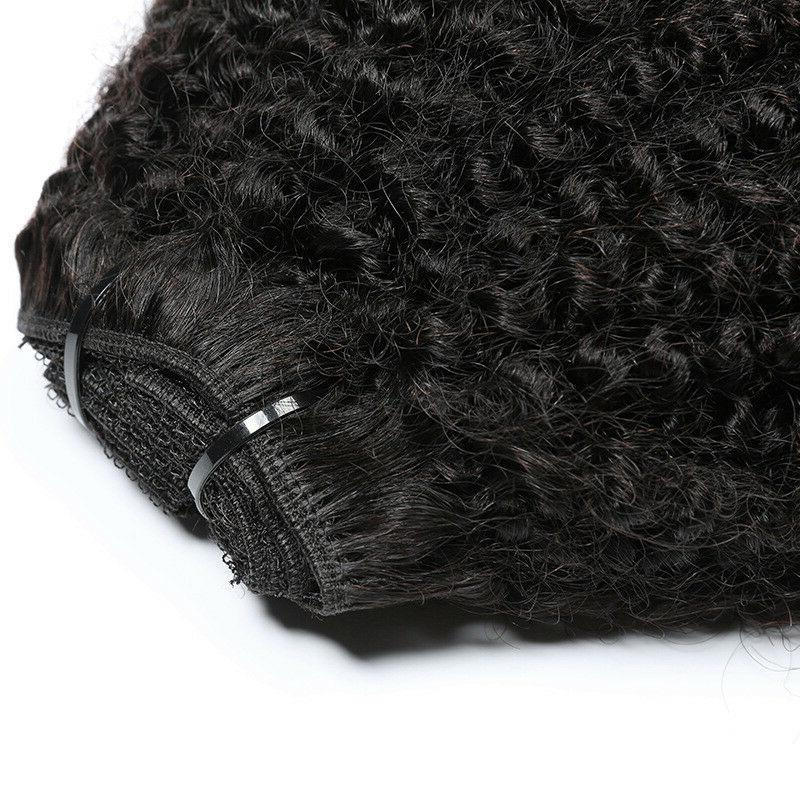 Mongolian Afro Hair Clip Human Extensions 8pcs 120g US