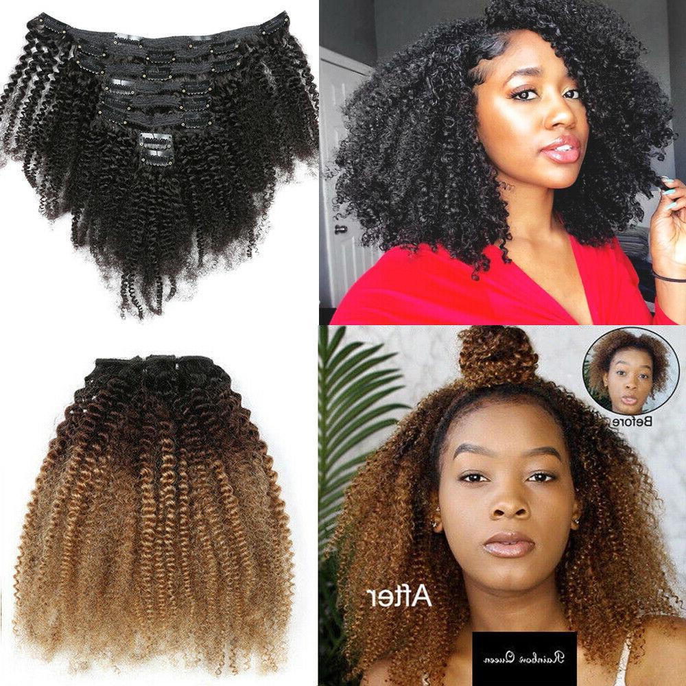 Mongolian Afro Kinky Hair Clip in Human Hair 8pcs
