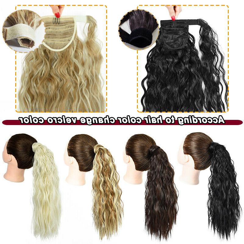 Natural Wrap Around Ponytail Hair Clip tail Hair Extensions Human