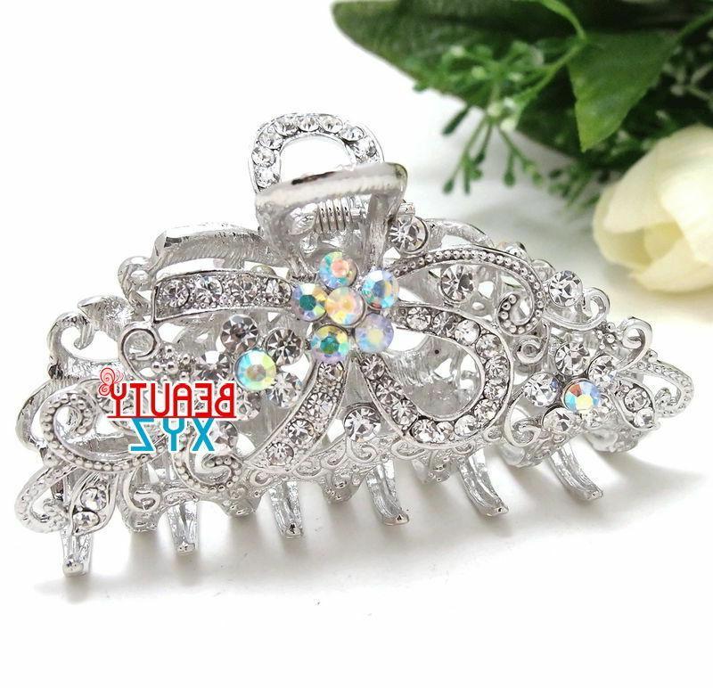 Hair Claw Bridal Elegant Silver USA
