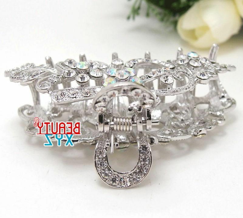 NEW Crystal Hair Claw Wedding Bridal Elegant Silver