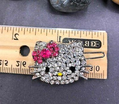 new silver tone hellokitty rhinestone bobby pin hair clip