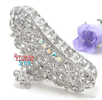 New metal silver bling paisley claw medium thick hair