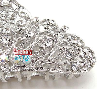 New silver WHITE bling claw clip hair
