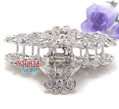 New silver bling paisley claw clip medium hair