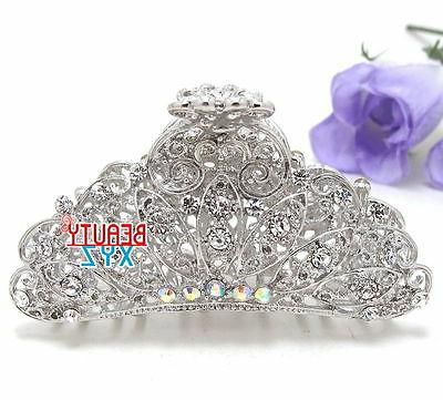new woman large metal silver white bling