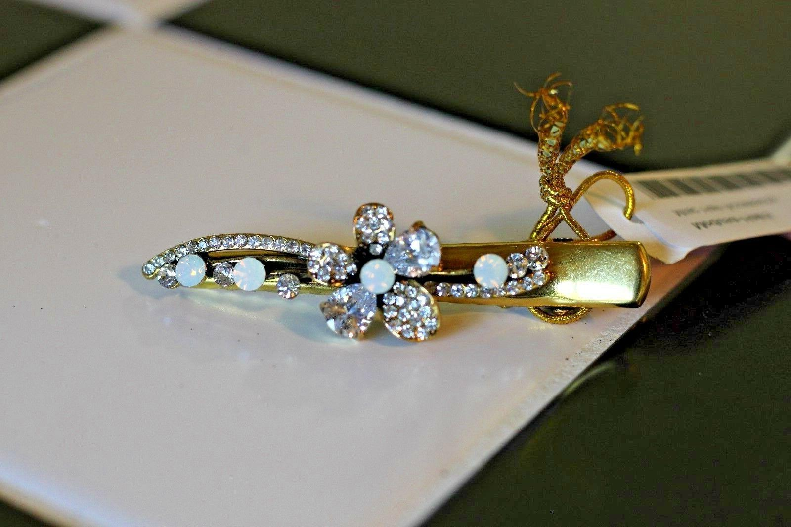 nwt brand hair clip gold iridescent jewels