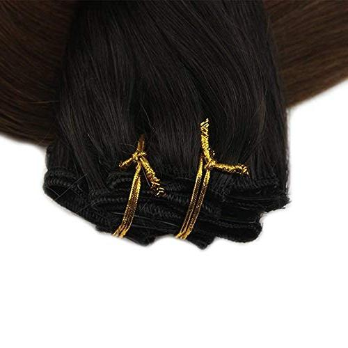 Full Shine Pcs Ombre Clip on Clip in Hair Ombre Extensions Color Fading to #4 Dark Quality in