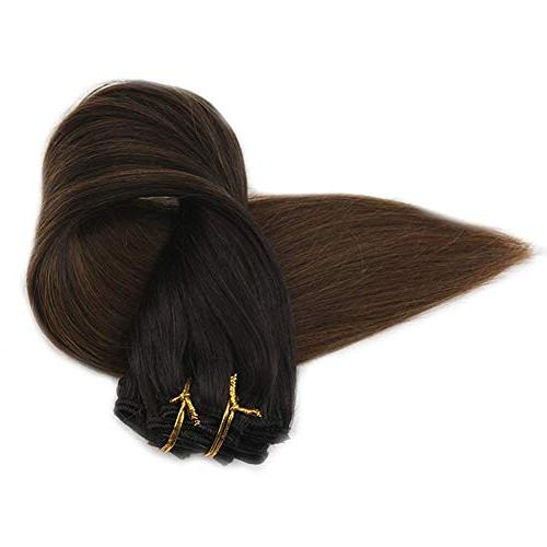 Full Shine Pcs Ombre Clip Hair Clip Human Hair Ombre Extensions Fading Color #4 Dark Quality in Extensions