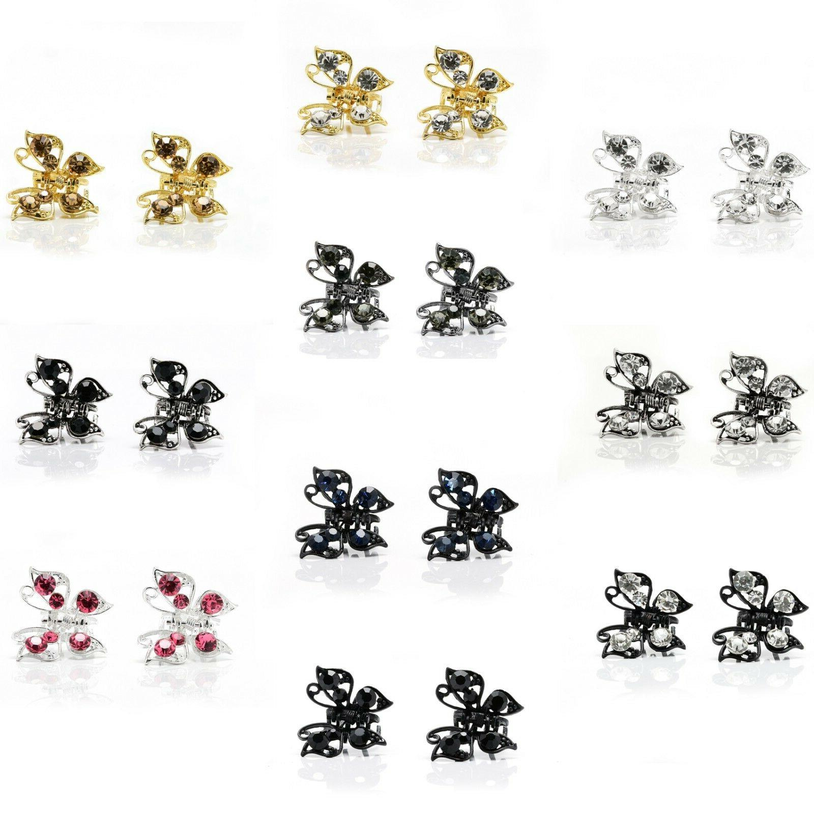 Pair Clip Butterfly Clips w/ Rhinestone Crystal