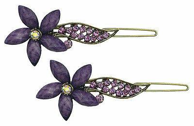 pair rhinestones flower thin hair snap clips