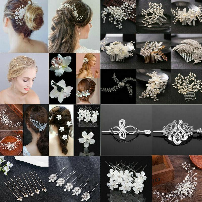 pearl crystal flower hair pins clips bridesmaid