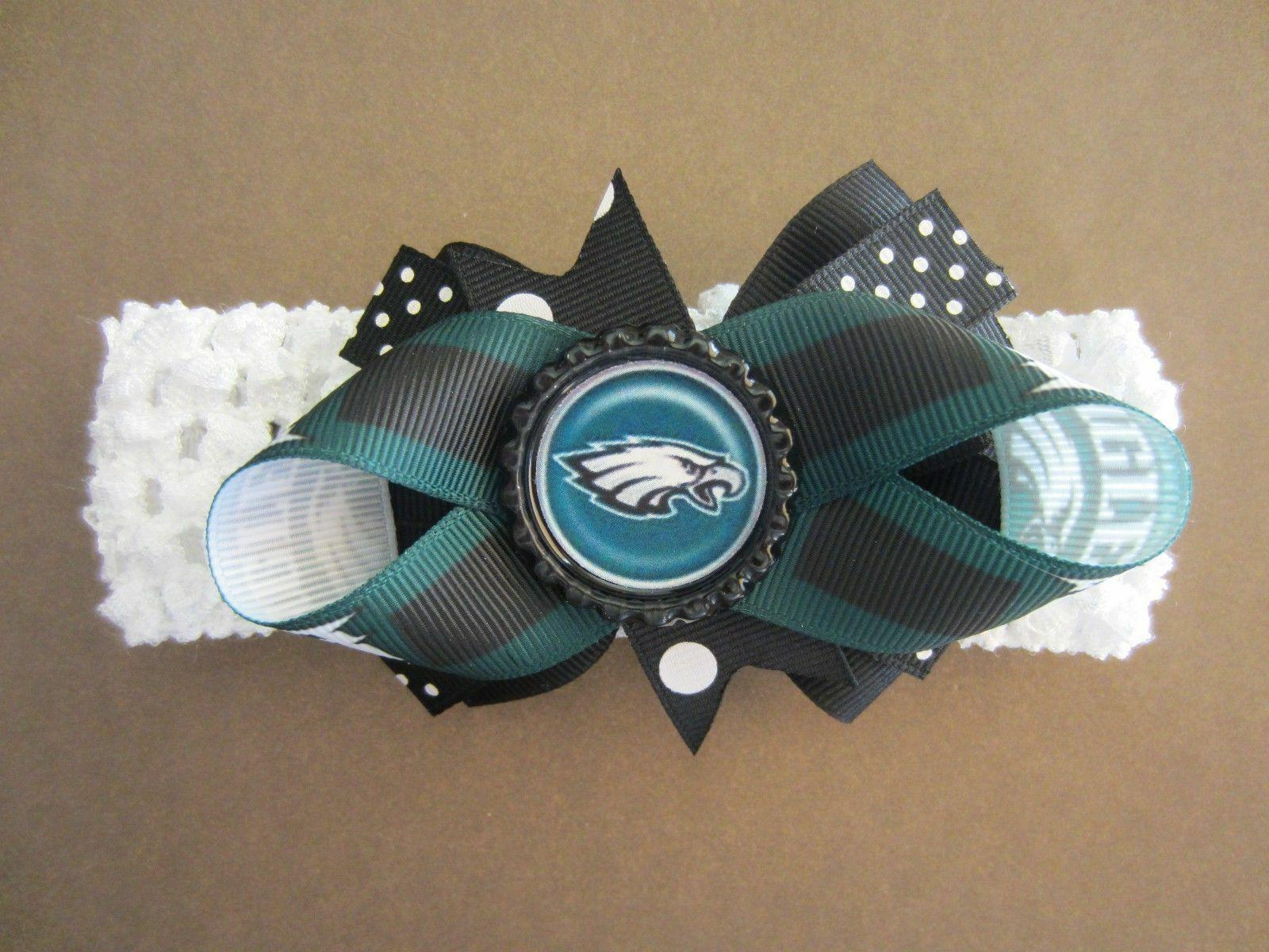 Philadelphia Eagles Hair Bow With or W/O Headband Baby Toddl