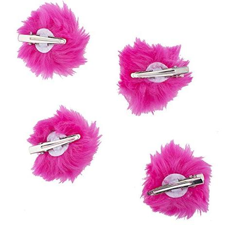 Lux Accessories Hot Pink Faux Fur Pom Hair Set 4pc