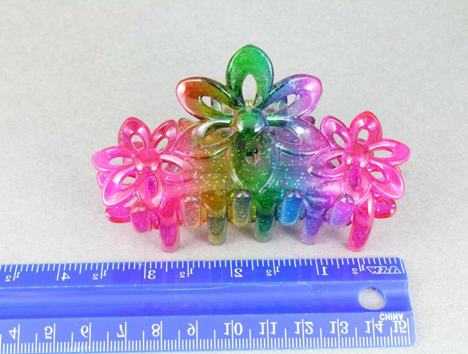 """Pink clip claw butterfly clamp floral 3.5"""""""