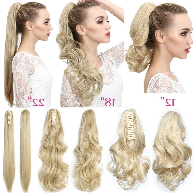 Thick Clip In Pony Tail Extensions Claw Clip On Ponytail Human