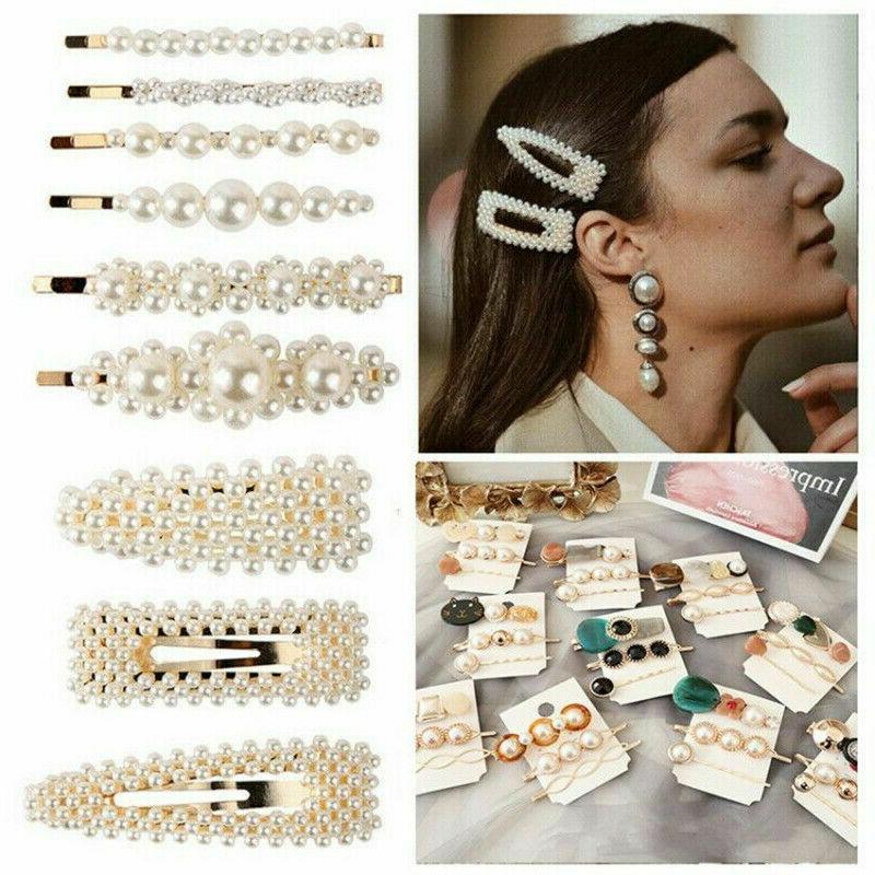 Popular Women Pearl Hair Clip Snap Barrette Hairpin Hair Accessories