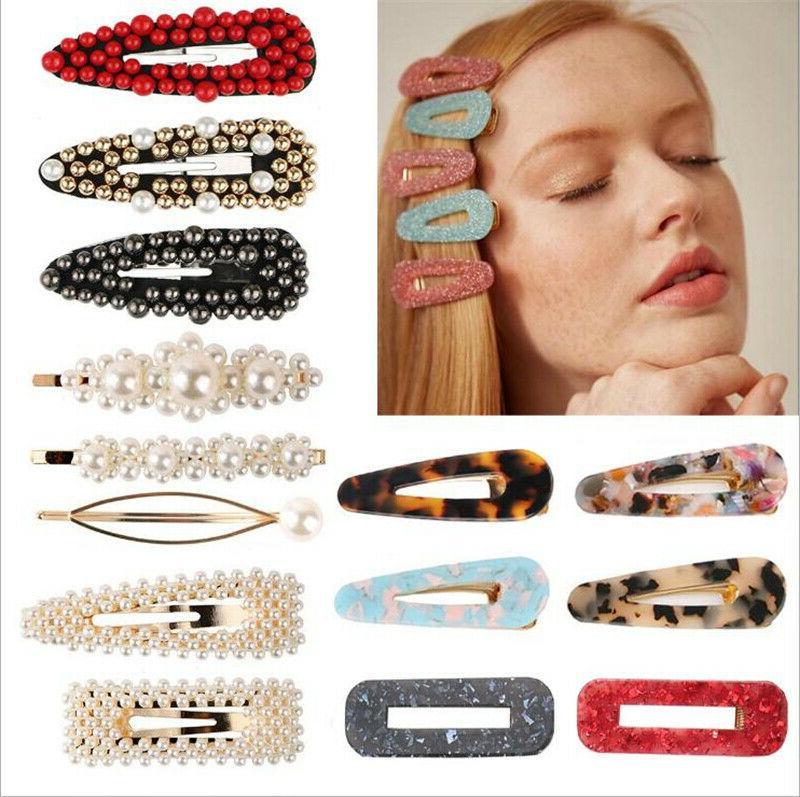 popular women pearl hair clip snap barrette