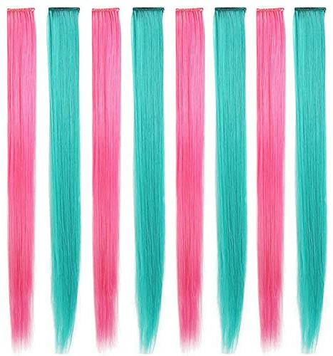 8PCS Party Highlight Wig Pieces for Dolls Colored Hair Clip in/On for Girls and