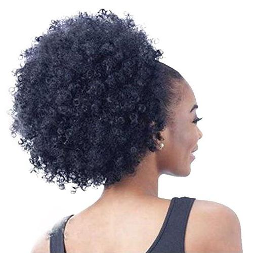 High Puff Drawstring Afro Curly in Curly Hair of Kanekalon Fiber Ponytail Wrap Updo Hair with