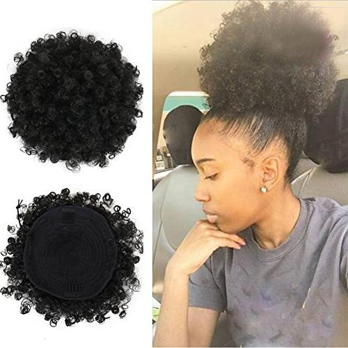 High Ponytail Drawstring Short Curly Pony Tail in on Hair Bun Made Kanekalon Fiber Wrap Updo with Clips