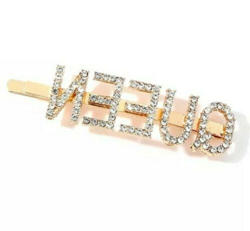 queen crystal rhinestone hair pin clip barrette
