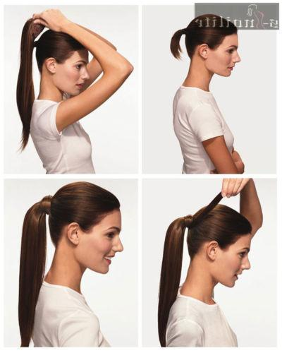 Real Clip in Ponytils Brown Ponytail Hairpiece hg27