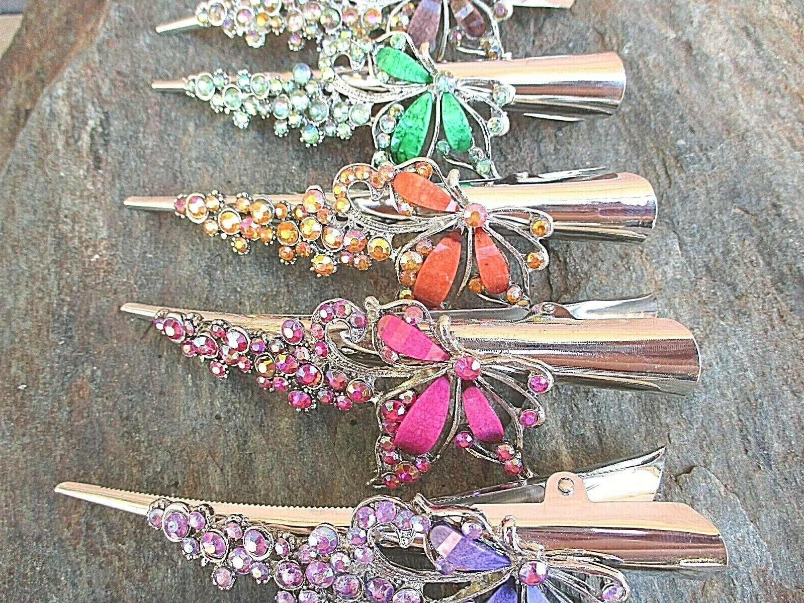 Rhinestone Butterfly Claw Clip Color 5""