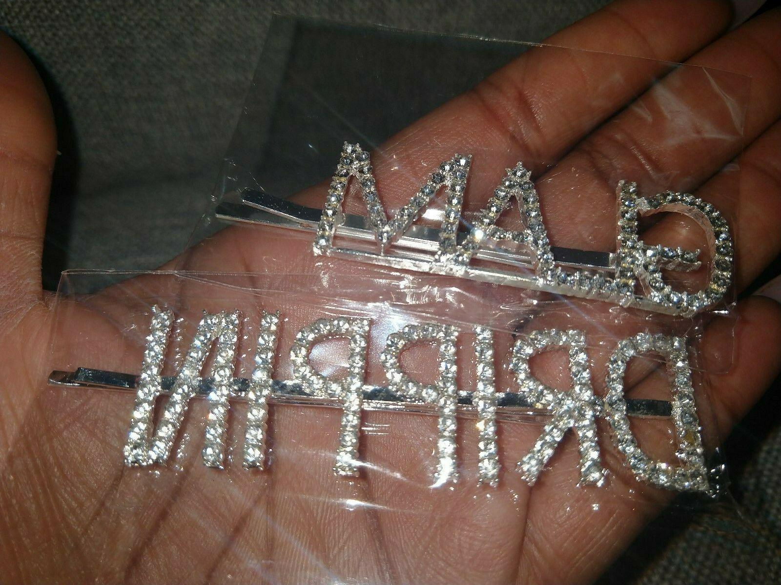 Rhinestone Hair Word DRIPPIN Crystal Clip