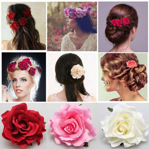 rose flower hair clip hairpin brooch bridal