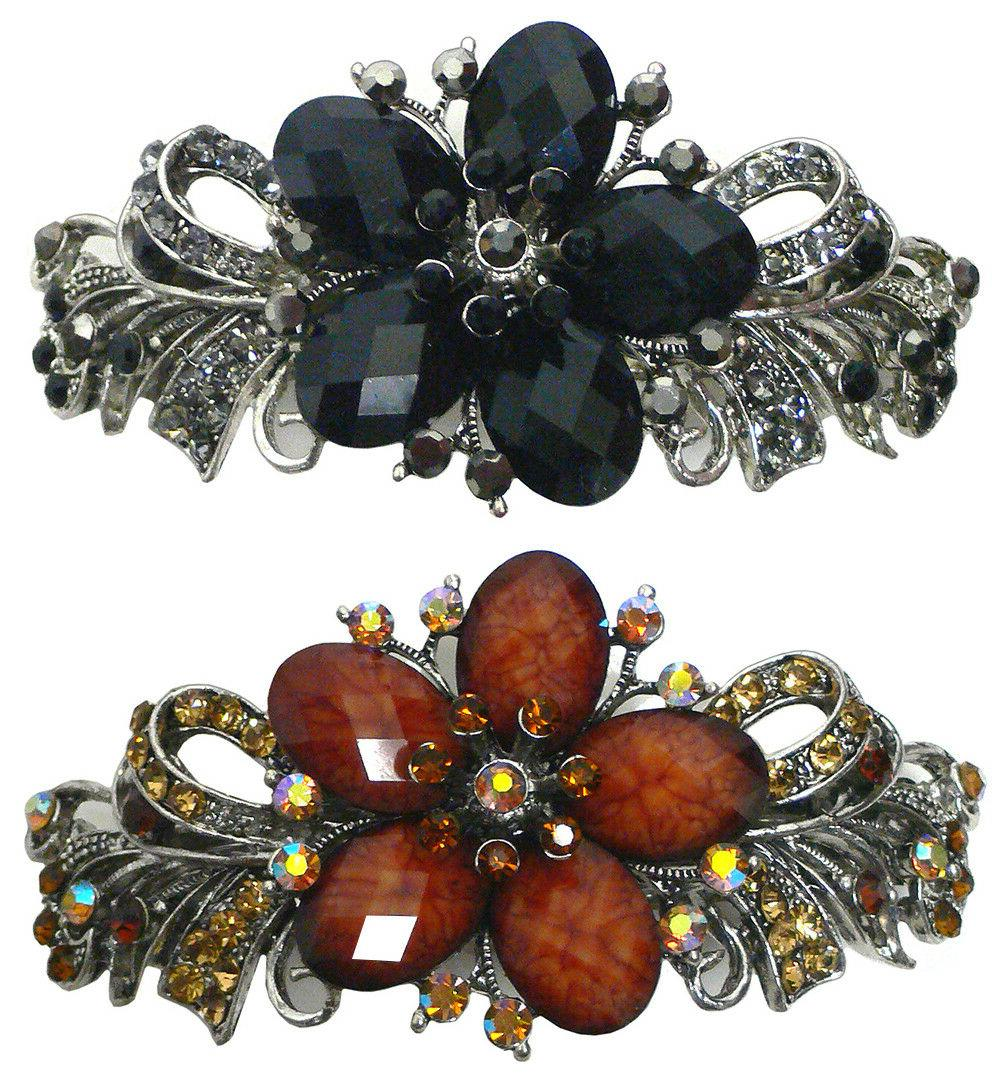 Bella Set of 2 Large Barrettes Hair Clips Beads and Crystals