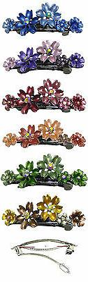 Bella  Set of 6 Small Flower Crystal Barrettes Hair clips 6