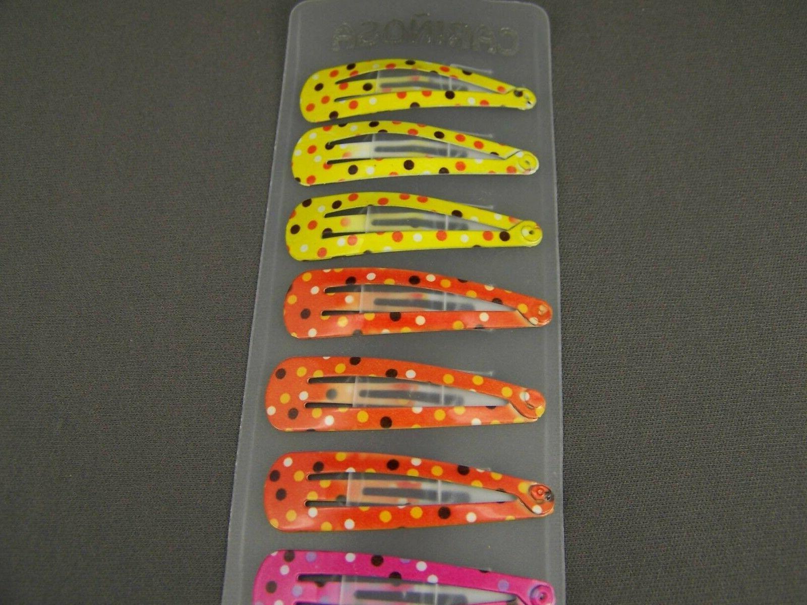 set pack painted hair clip snap barrettes 1 long polka dot
