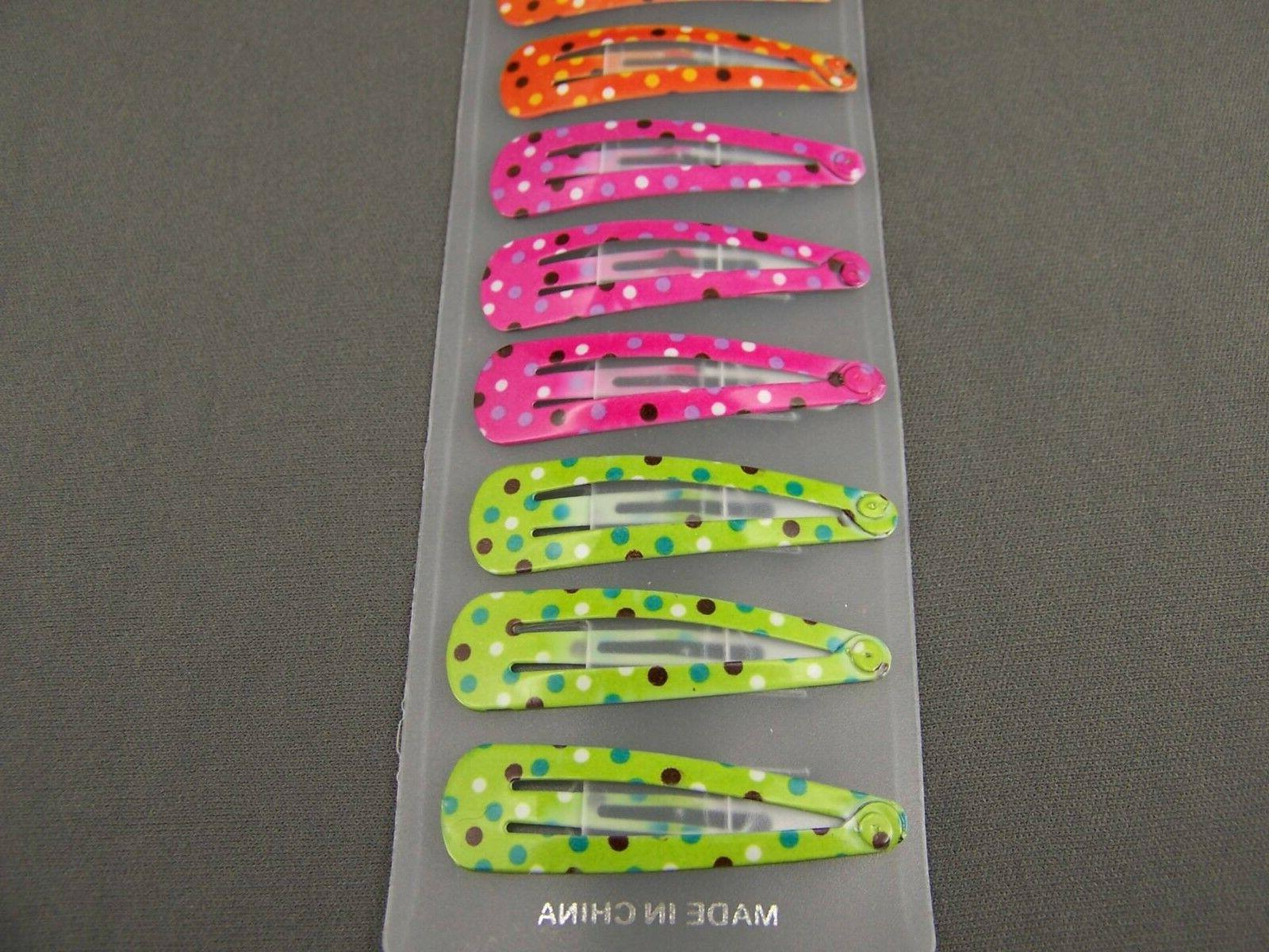 set pack of painted metal snap barrettes long polka