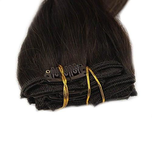 """Full Shine 20"""" Pcs Dye Hair Color #2 Fading Color #8 Thick Clip Extensions Remy Clip in Human Hair"""
