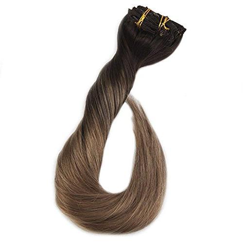 "Full Shine 20"" Clip Pcs Dip Color #2 Color Balayage Clip Extensions Clip Hair Extensions"