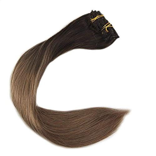 Full Shine 120gram Clip Pcs Hair Color #2 Fading to Color Clip Extensions Remy Clip Extensions Clip Hair Extensions