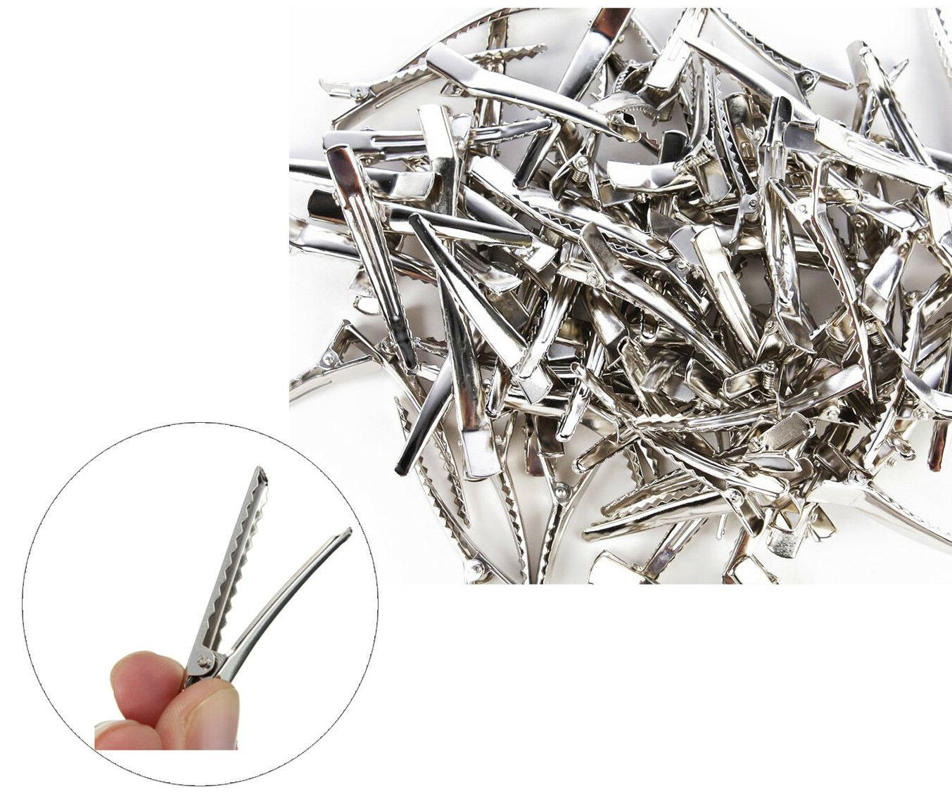 50pc silver single prong alligator metal clips
